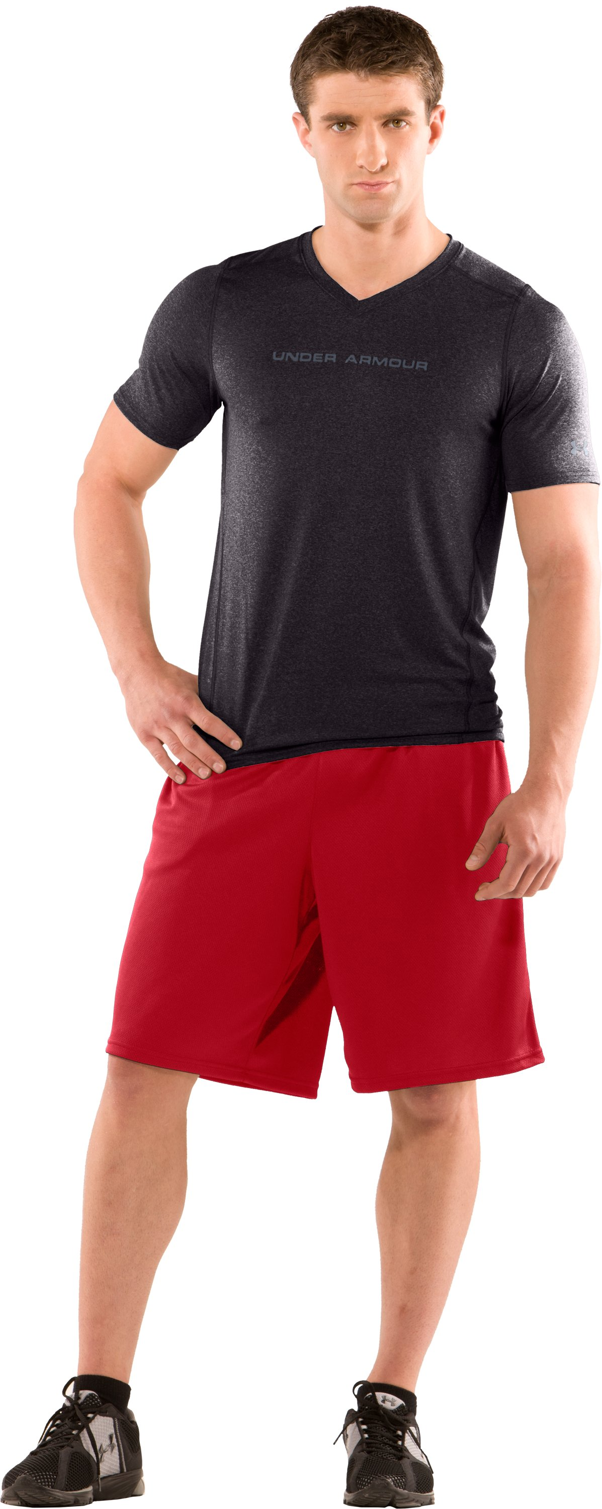 Men's HeatGear® Touch Fitted Short Sleeve V-Neck T-Shirt, Carbon Heather, zoomed image