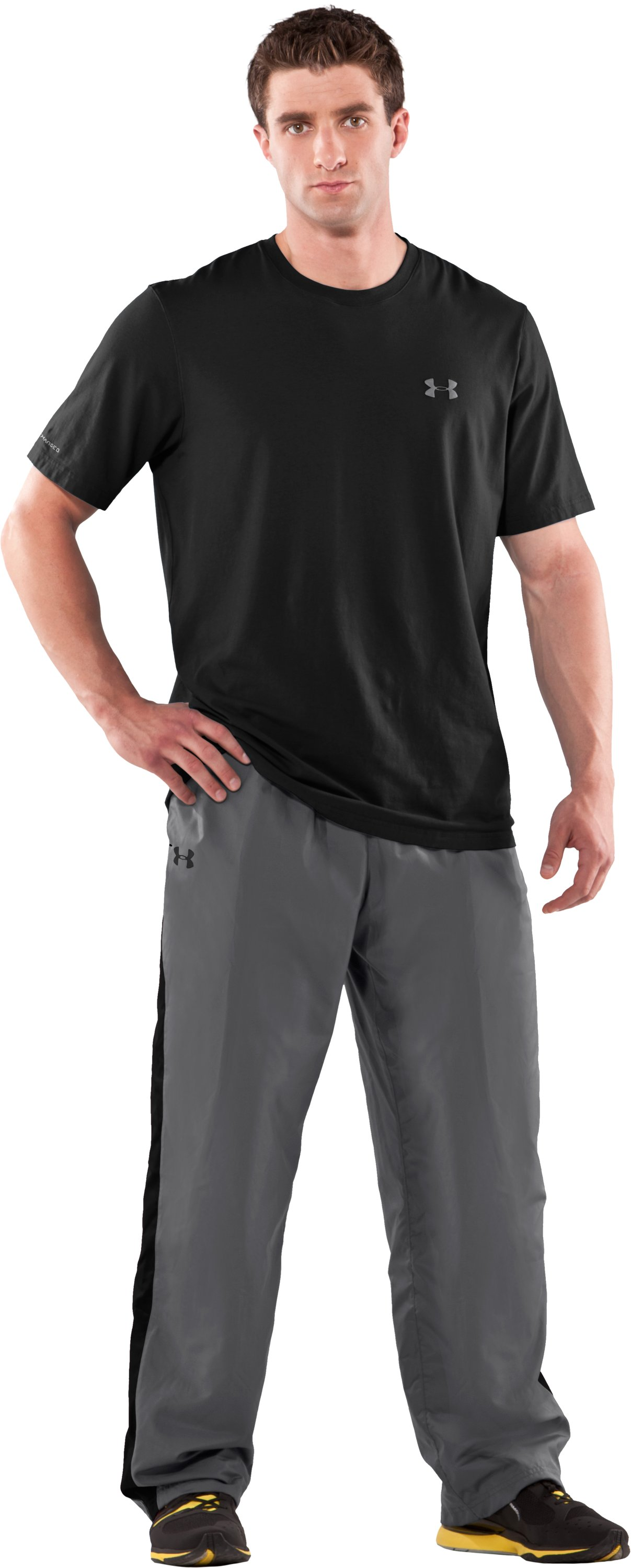 Men's UA Attack Woven Warm-Up Pants, Graphite, zoomed image