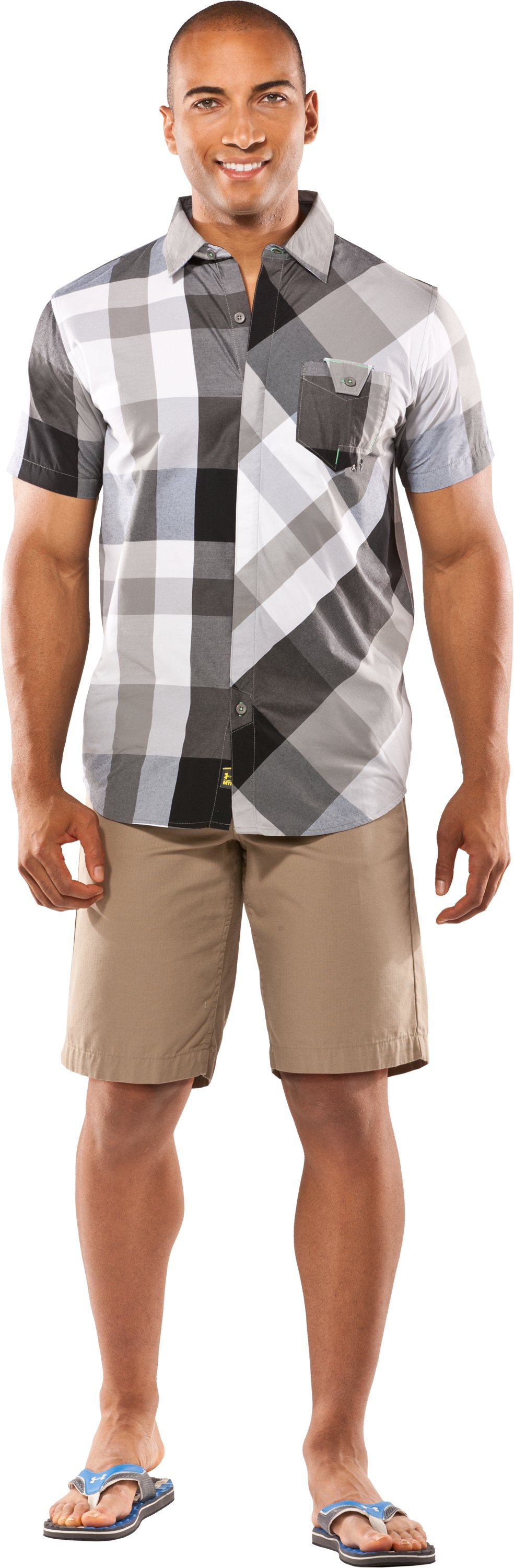 Men's UA Pin Drop Woven Plaid Short Sleeve, Storm, zoomed image