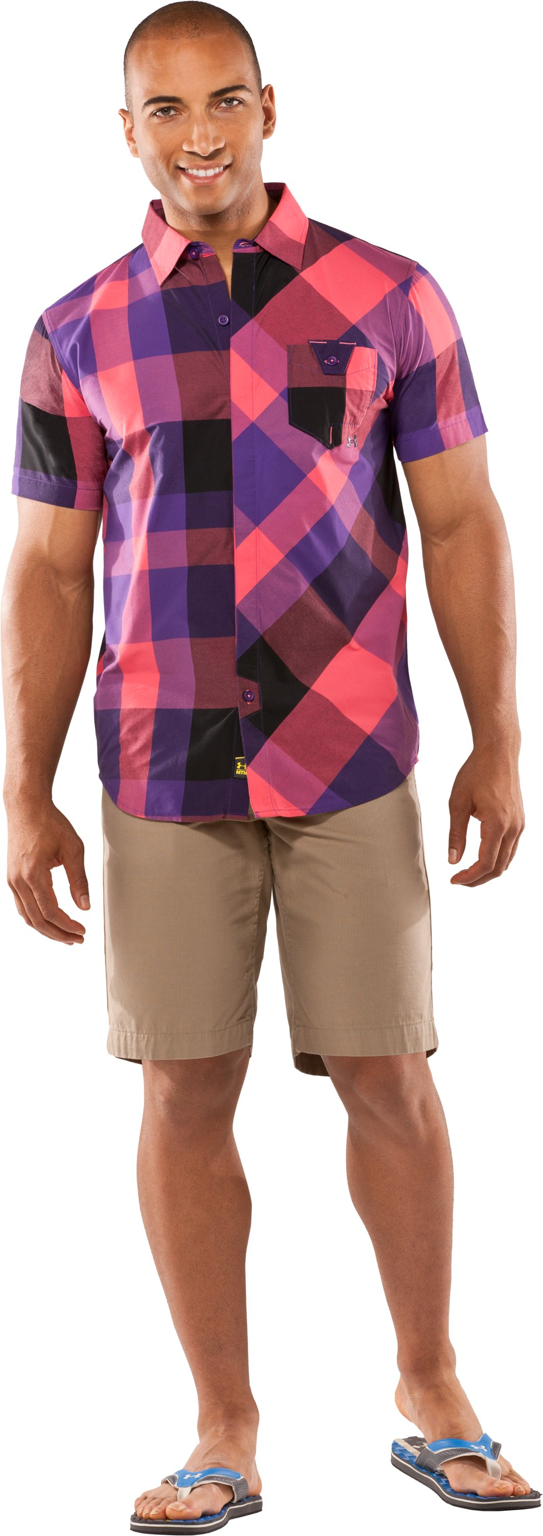 Men's UA Pin Drop Woven Plaid Short Sleeve, Grimmace