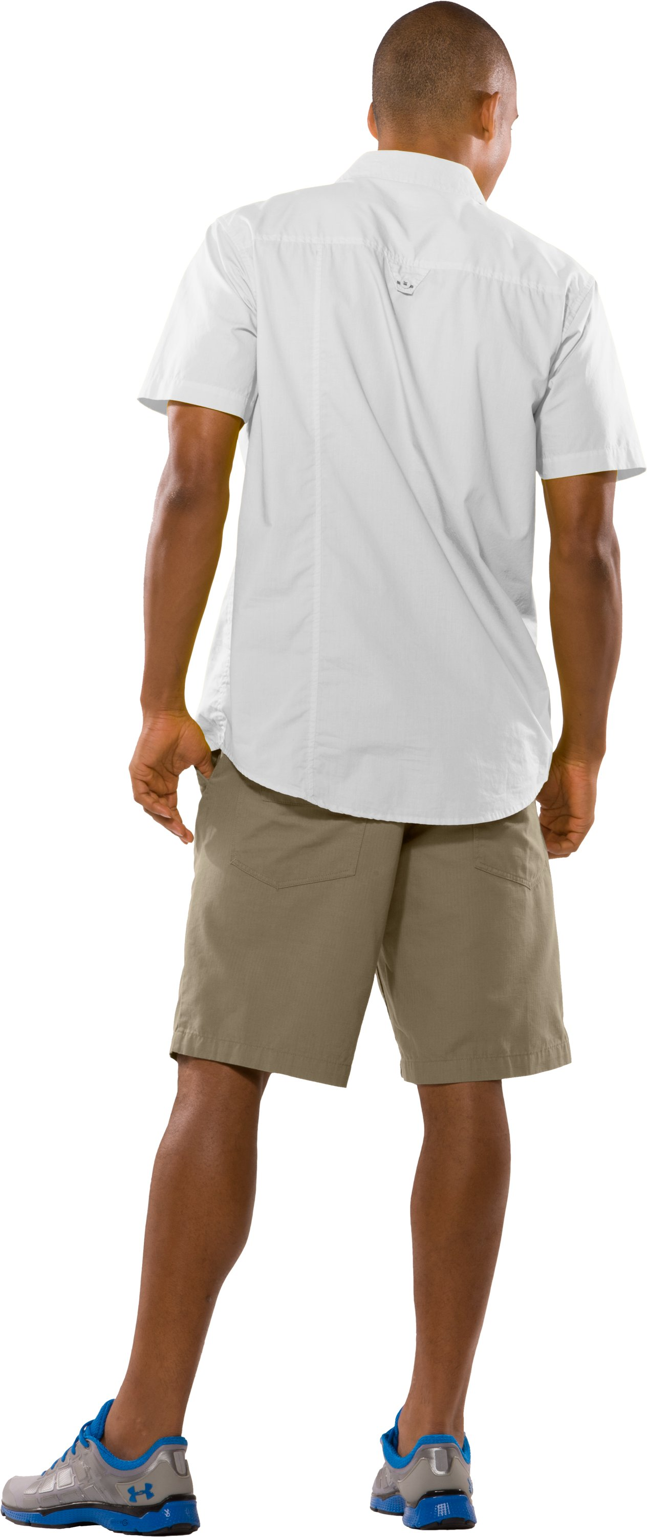 Men's UA Pin Drop Woven Solid Short Sleeve, White, Back