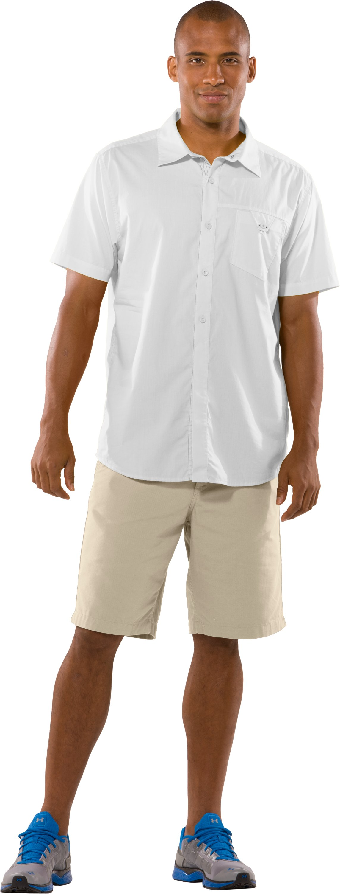 Men's UA Pin Drop Woven Solid Short Sleeve, White, Front