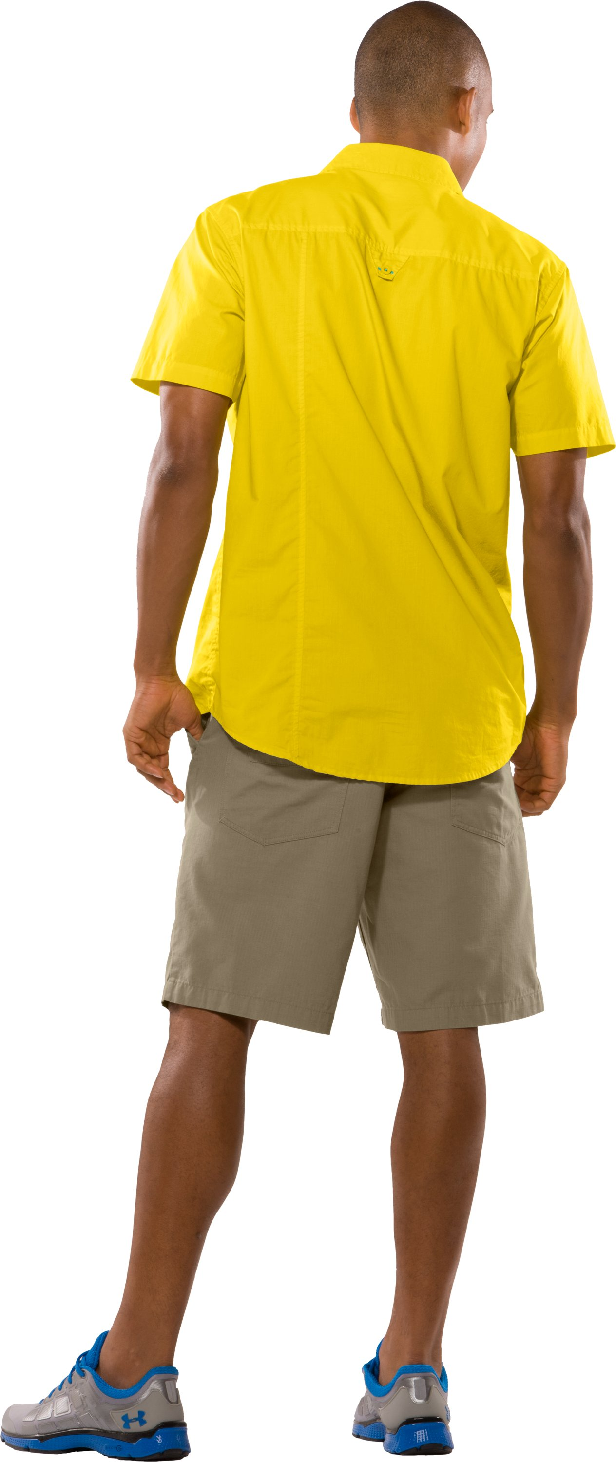Men's UA Pin Drop Woven Solid Short Sleeve, Lemonade, Back