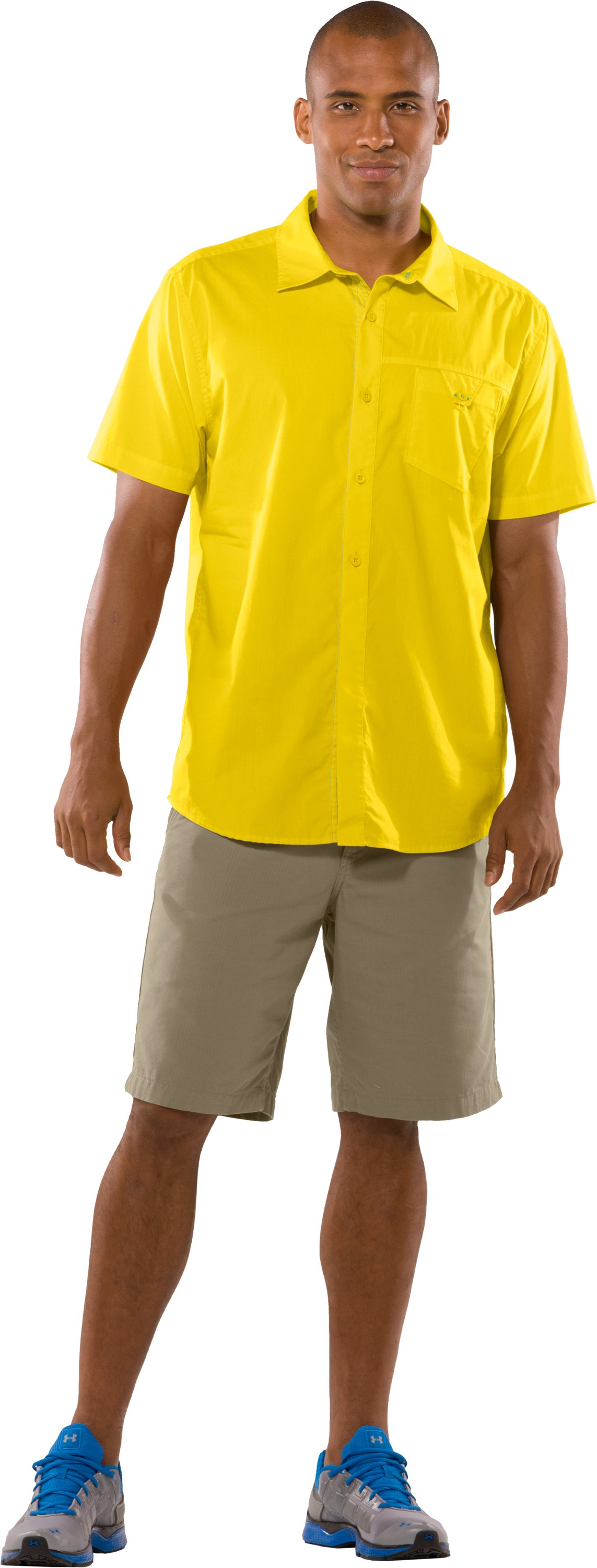Men's UA Pin Drop Woven Solid Short Sleeve, Lemonade, Front