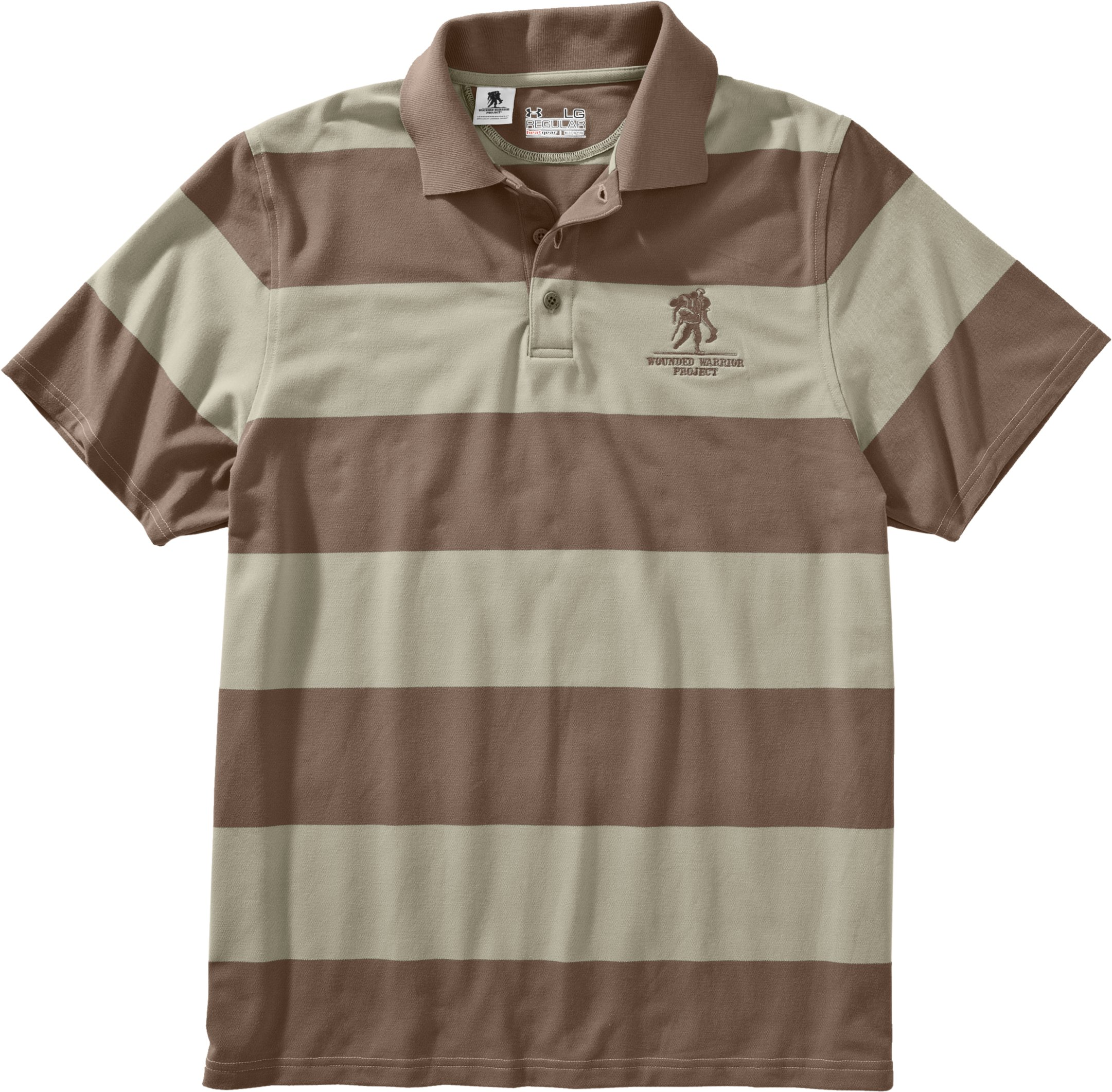 Men's WWP Stripe Polo, Desert Sand, Laydown
