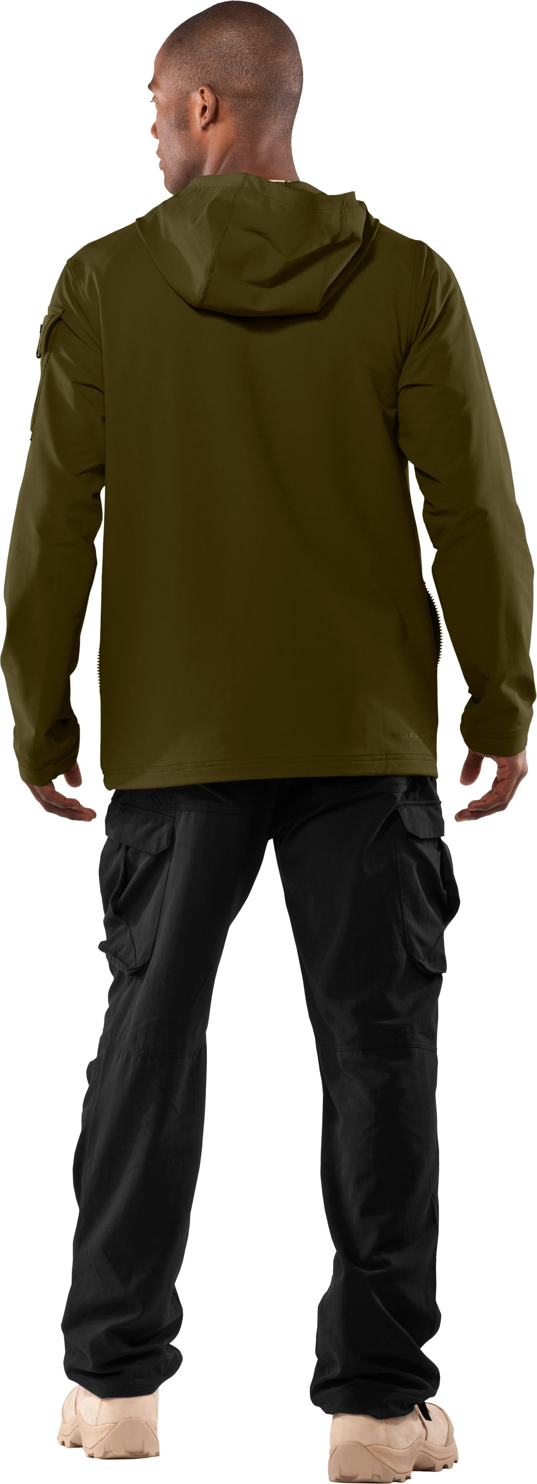 Men's UA Tactical Softshell Jacket, Marine OD Green, Back
