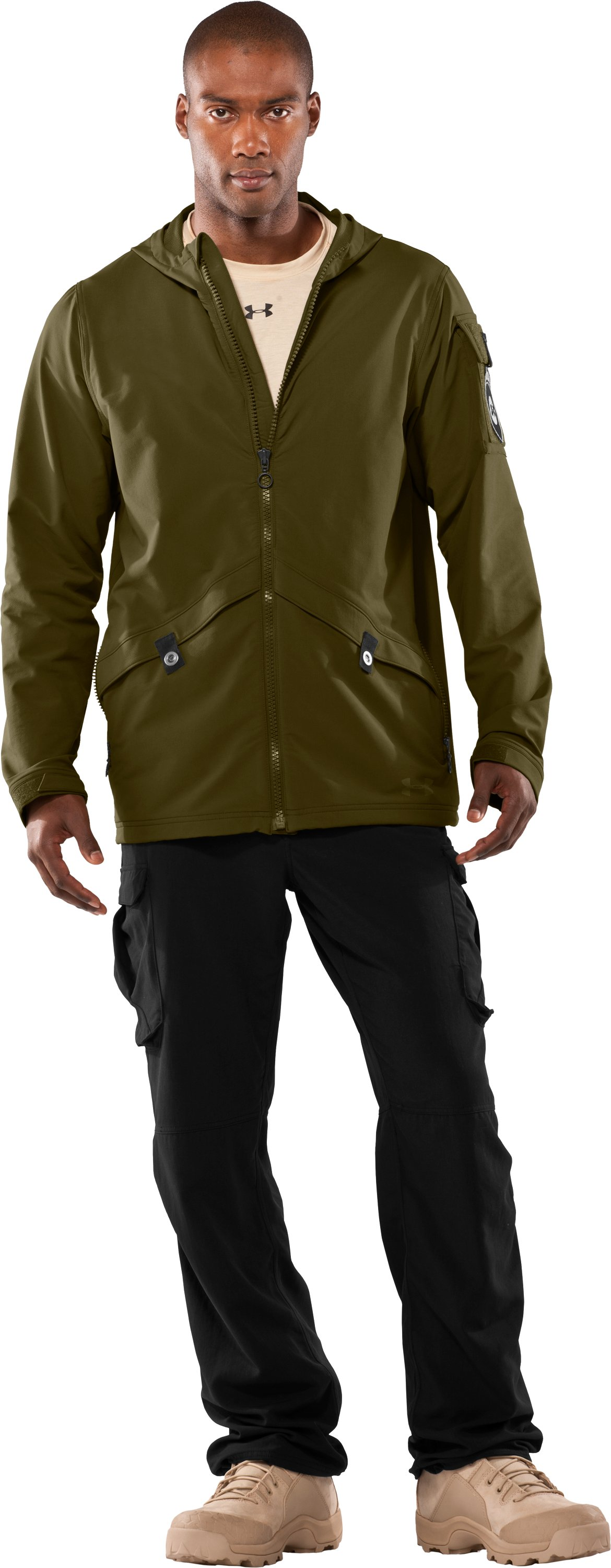 Men's UA Tactical Softshell Jacket, Marine OD Green, Front