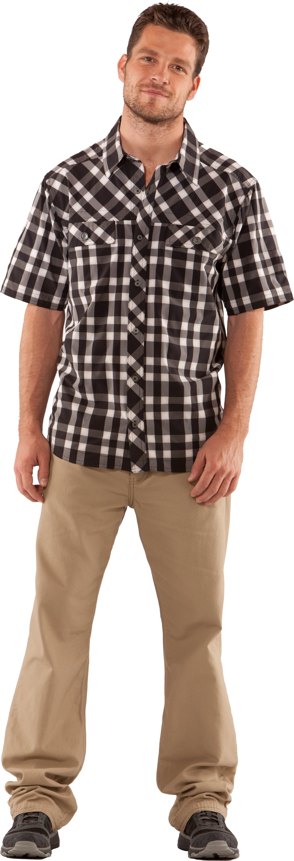 Men's UA Phase Plaid Short Sleeve, Black , zoomed image
