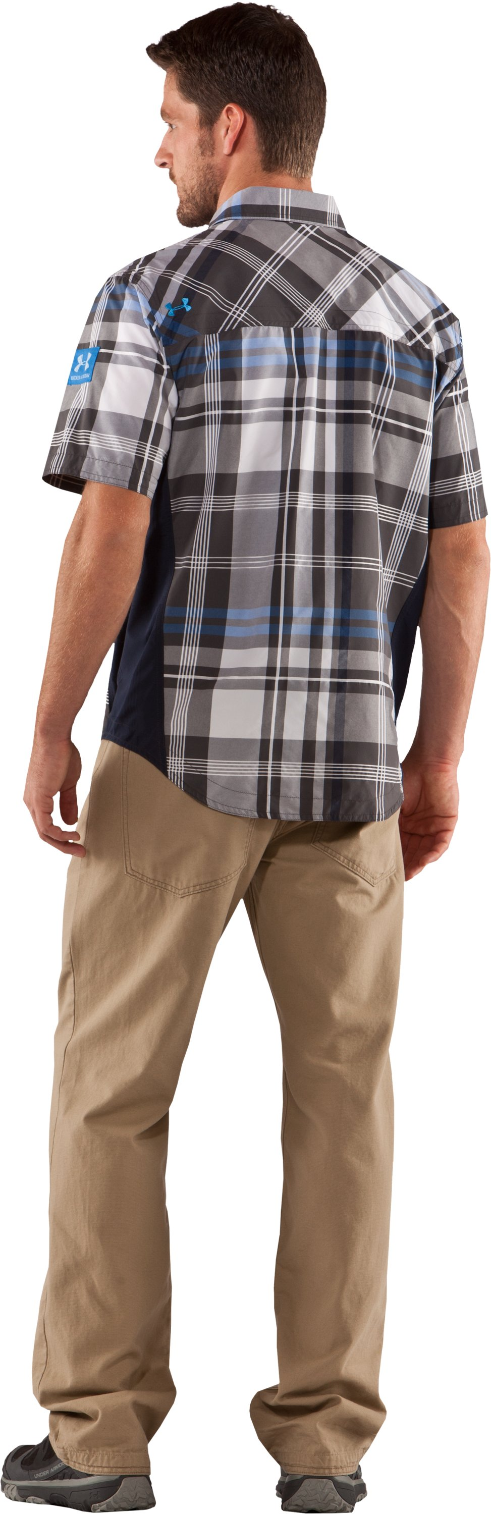 Men's Big Plaid Woven Short Sleeve Shirt, Battleship, Back