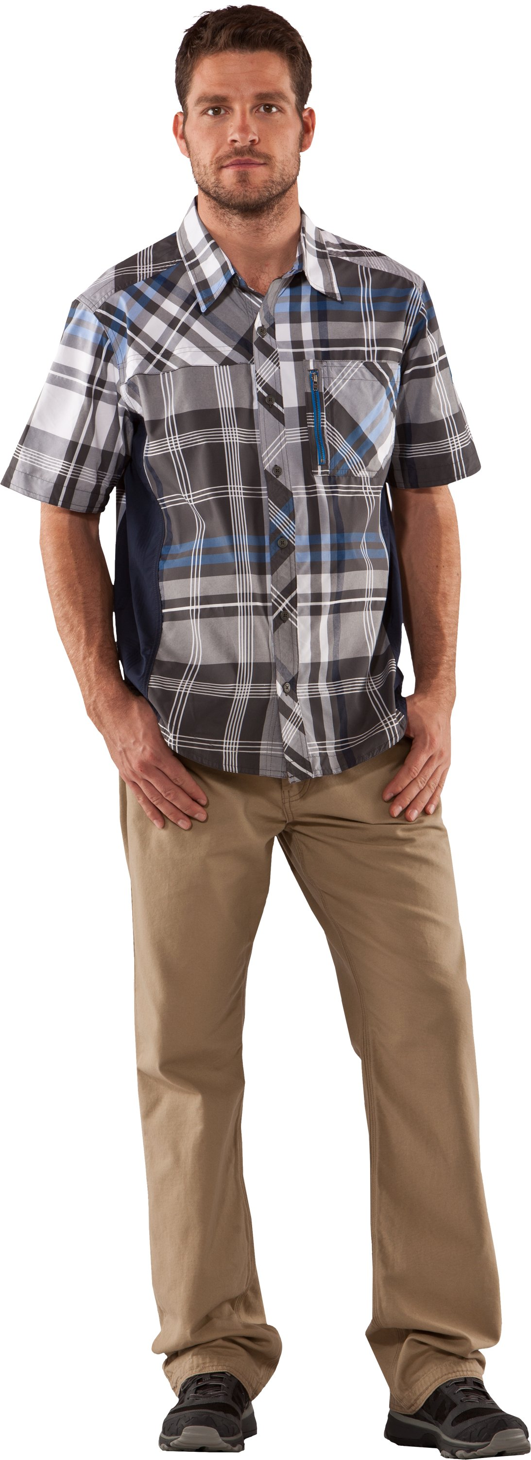 Men's Big Plaid Woven Short Sleeve Shirt, Battleship, Front