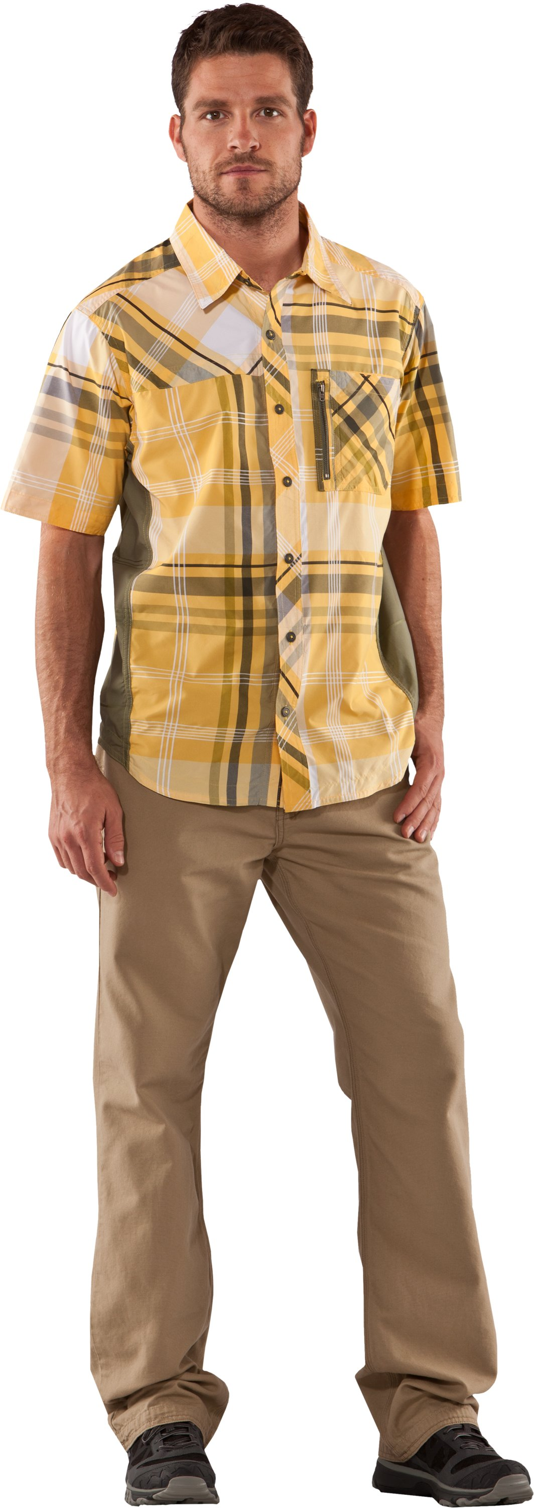 Men's Big Plaid Woven Short Sleeve Shirt, Sunspark, Front