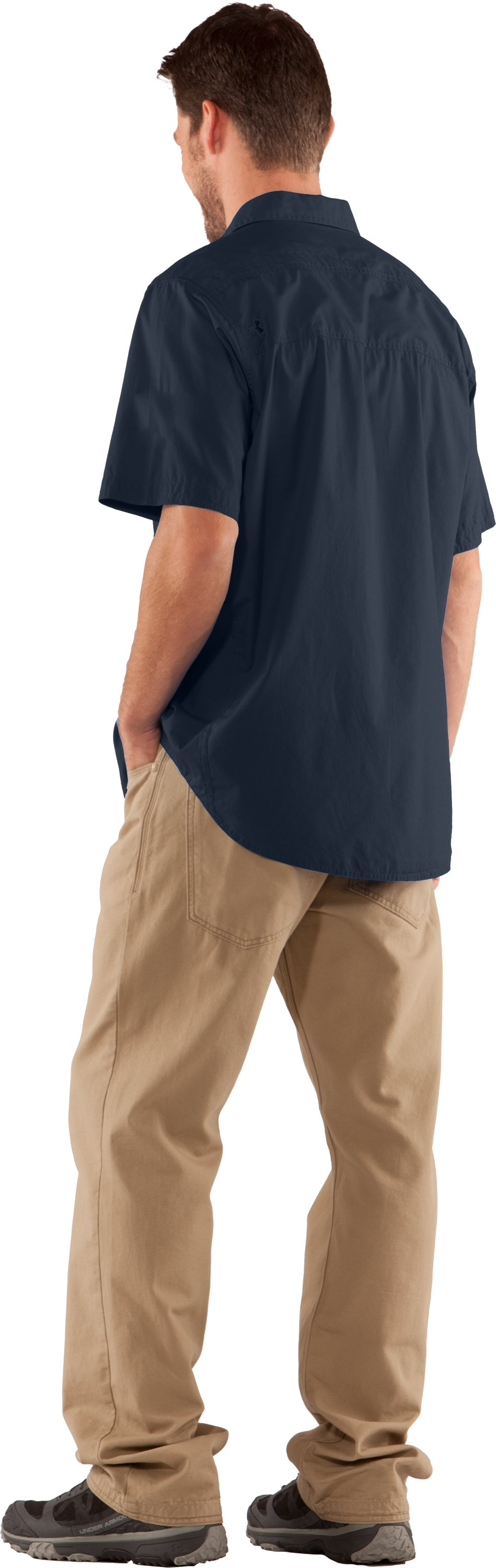 Men's Charged Cotton® Solid Short Sleeve, Cadet, Back