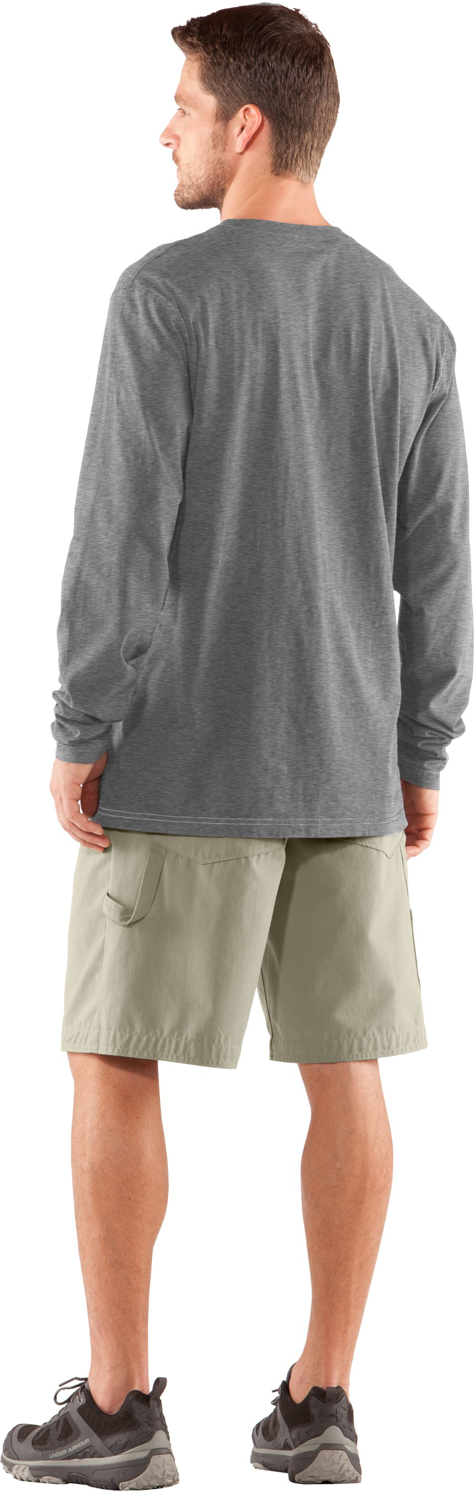 Men's Charged Cotton® Pocket Long Sleeve T-Shirt, True Gray Heather, Back