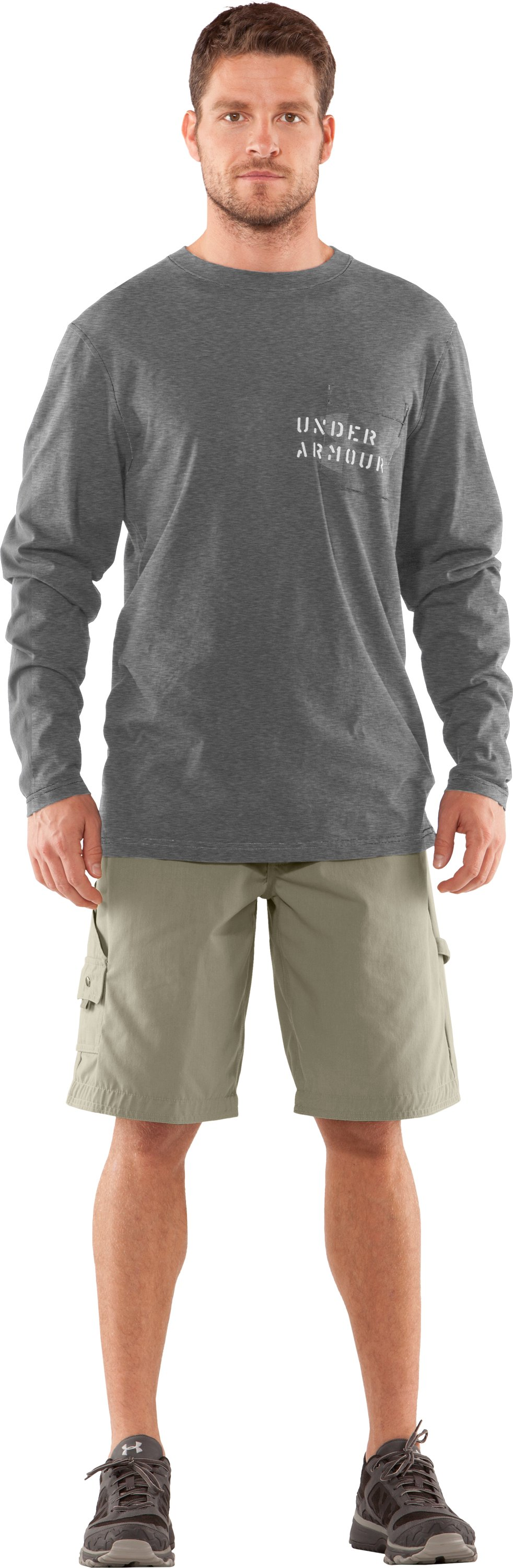 Men's Charged Cotton® Pocket Long Sleeve T-Shirt, True Gray Heather, Front