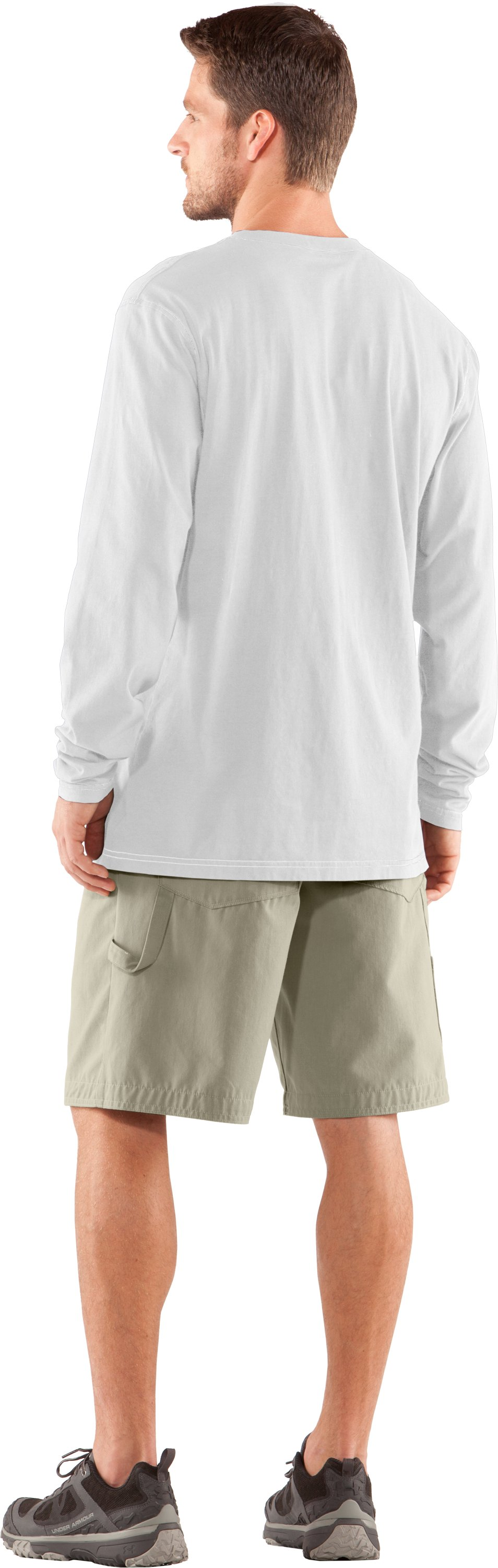 Men's Charged Cotton® Pocket Long Sleeve T-Shirt, White, Back