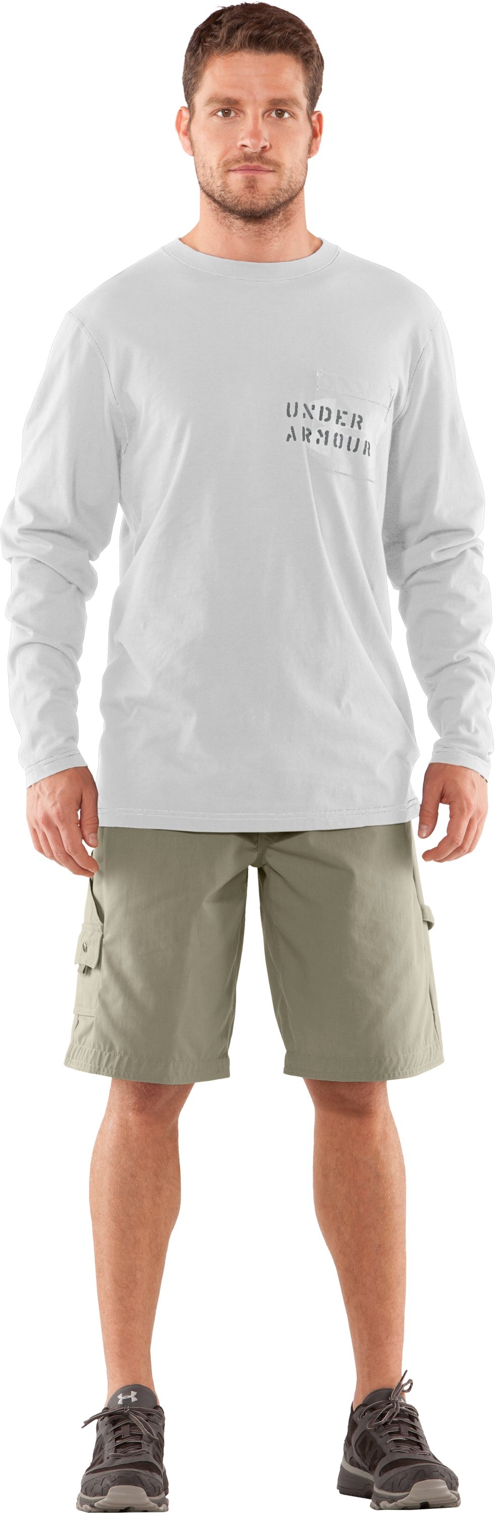 Men's Charged Cotton® Pocket Long Sleeve T-Shirt, White, Front