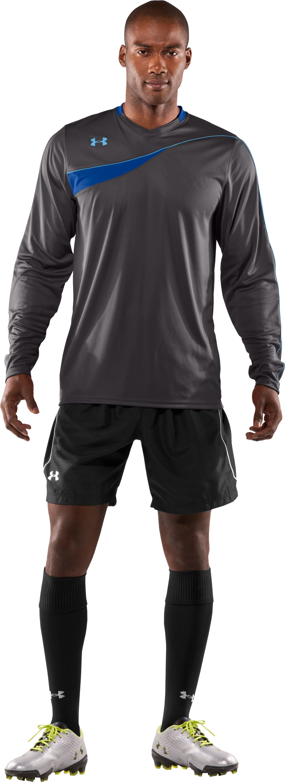 Men's UA Horizontal Goalkeeper Jersey, Charcoal, Front