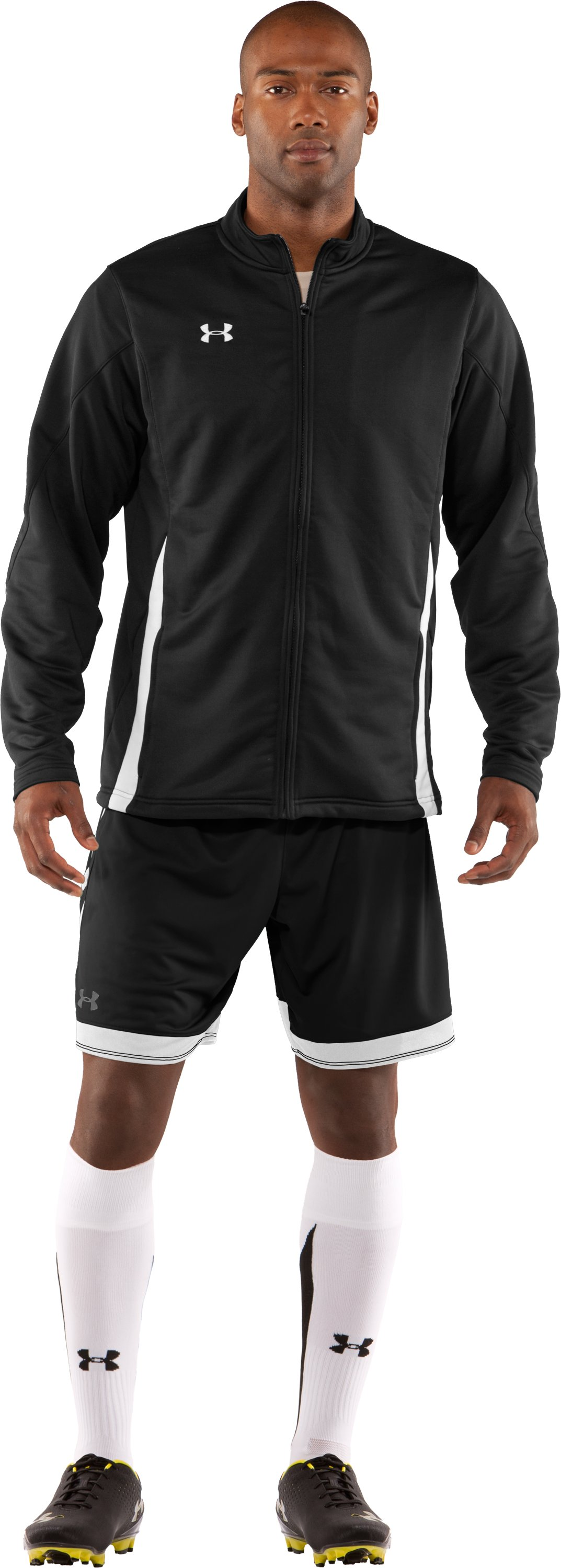 Men's UA Classic Knit Warm-Up Jacket, Black , Front