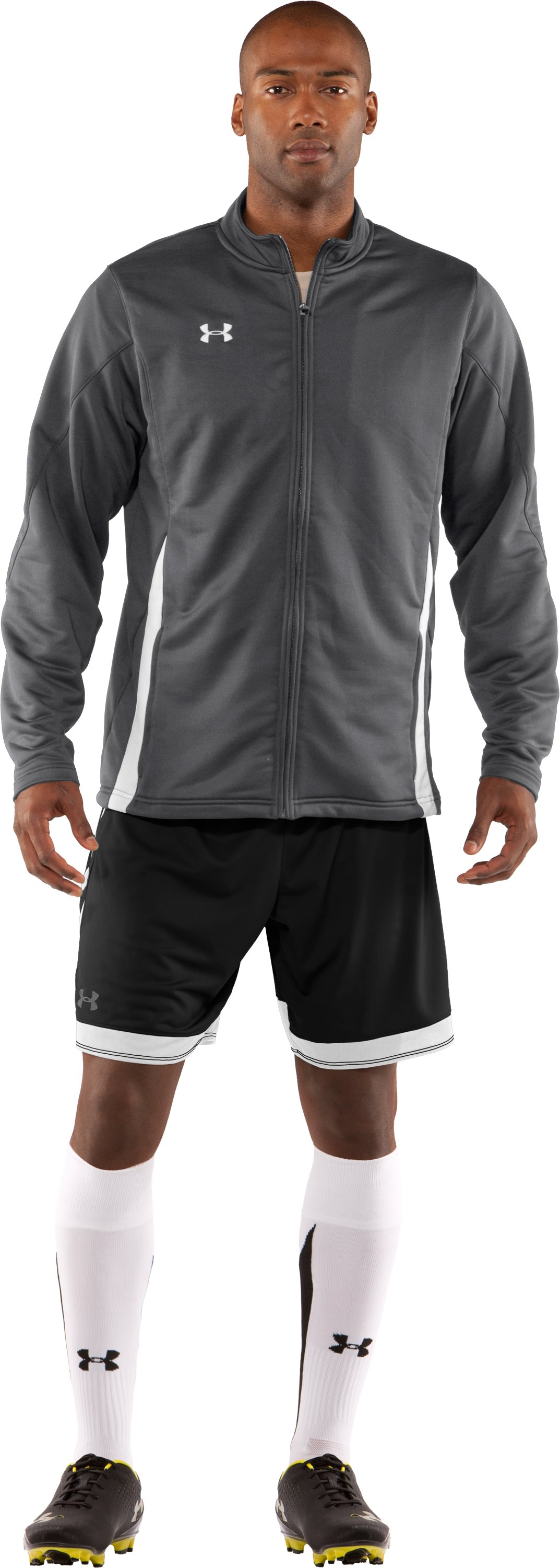 Men's UA Classic Knit Warm-Up Jacket, Graphite, Front