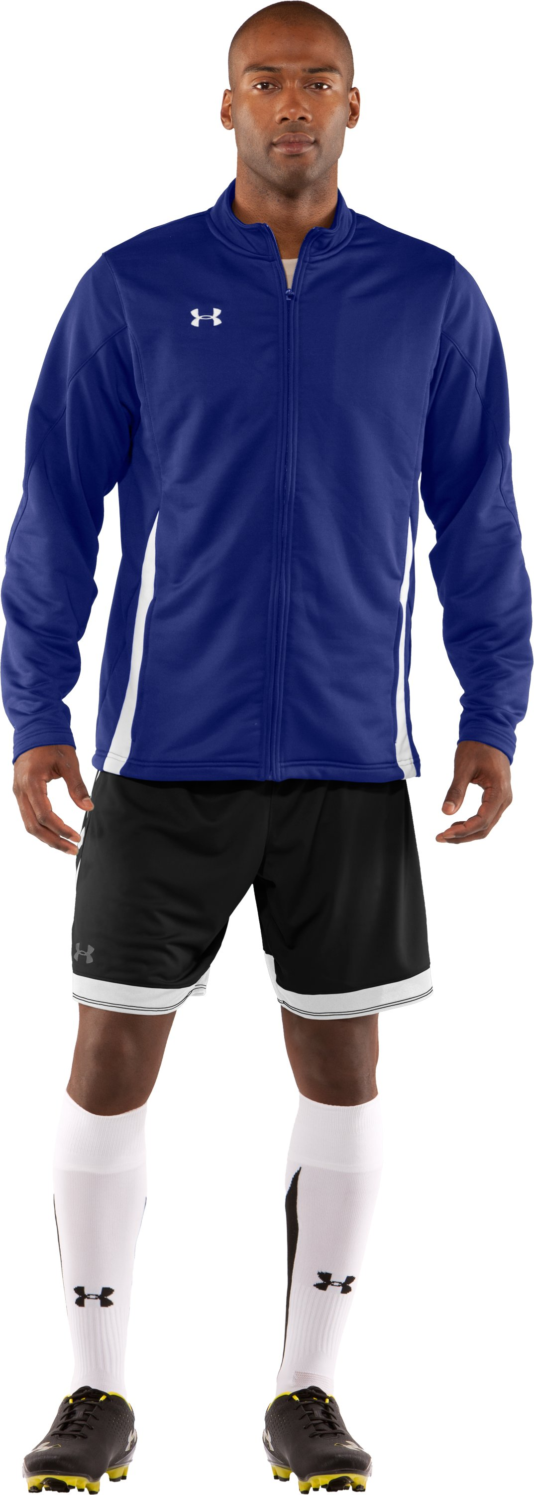 Men's UA Classic Knit Warm-Up Jacket, Royal, Front