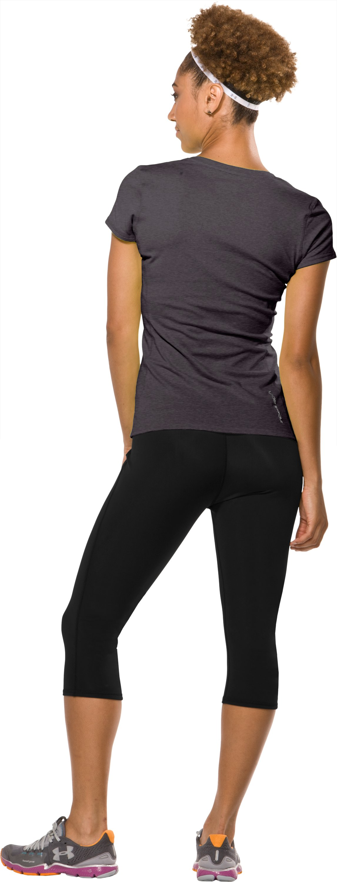 "Women's HeatGear® Squat 15"" Capri, Black , Back"