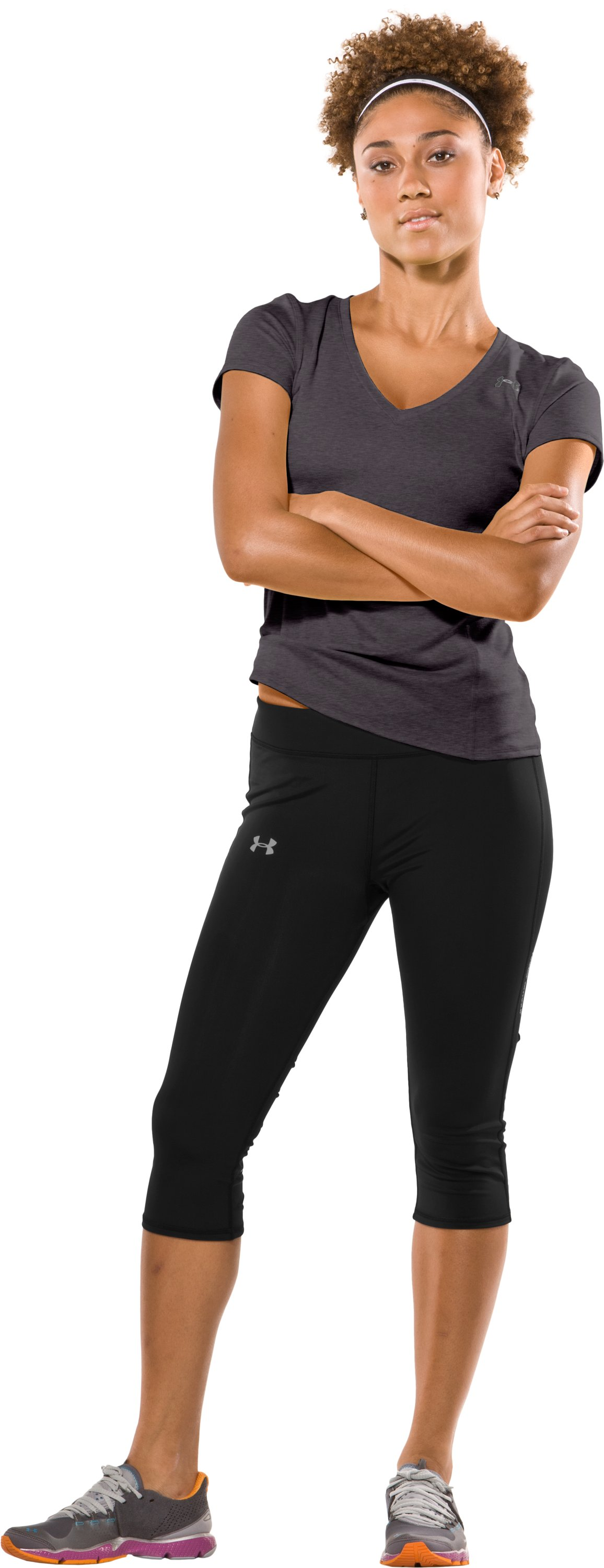 "Women's HeatGear® Squat 15"" Capri, Black , zoomed image"