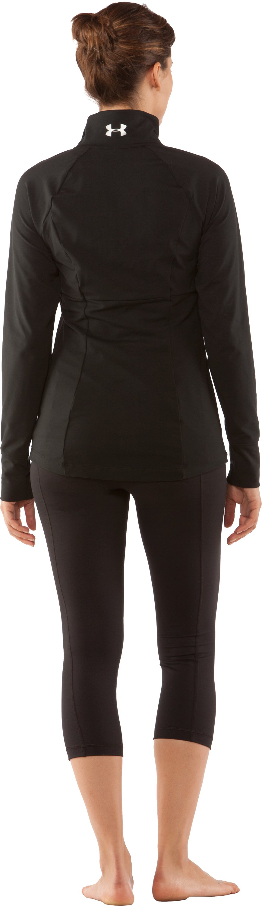 Women's UA Charm Full Zip, Black , Back