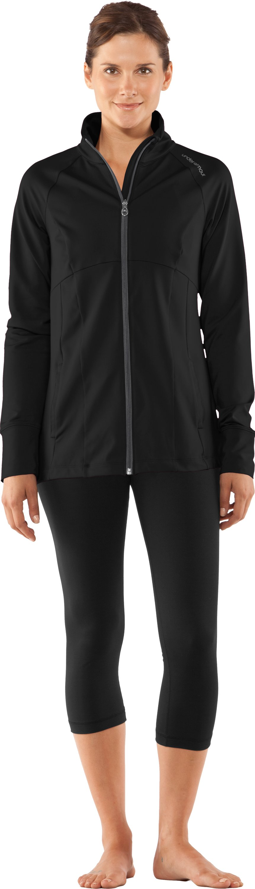 Women's UA Charm Full Zip, Black , Front