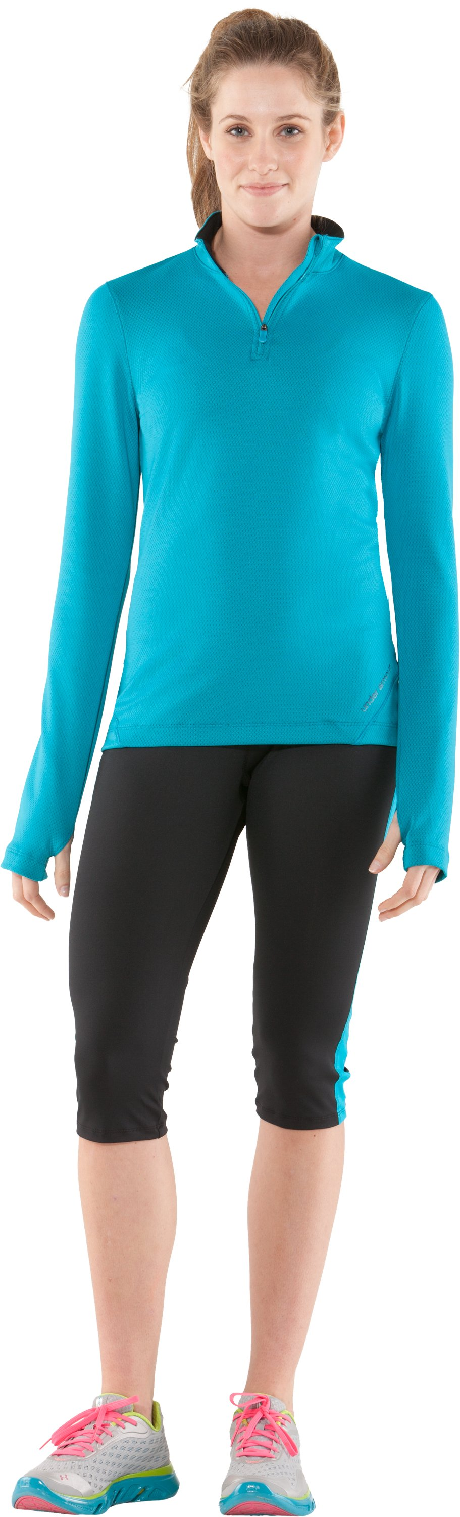 Women's UA Escape Fitted Capri, Black , Front