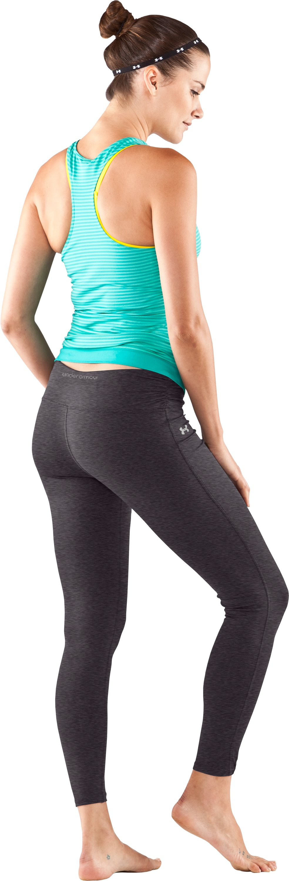 Women's UA Perfect Leggings, Carbon Heather, Back