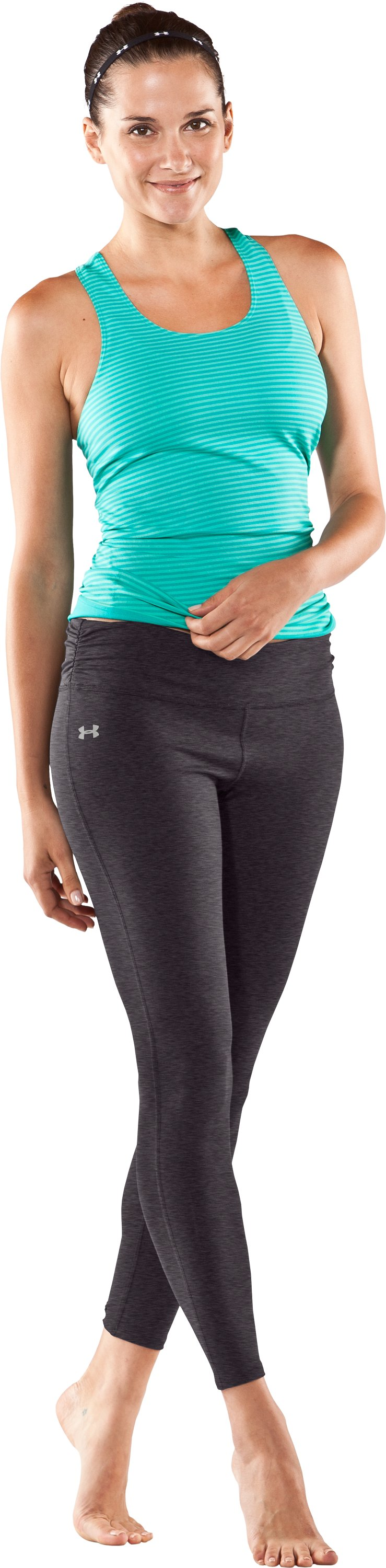 Women's UA Perfect Leggings, Carbon Heather, Front
