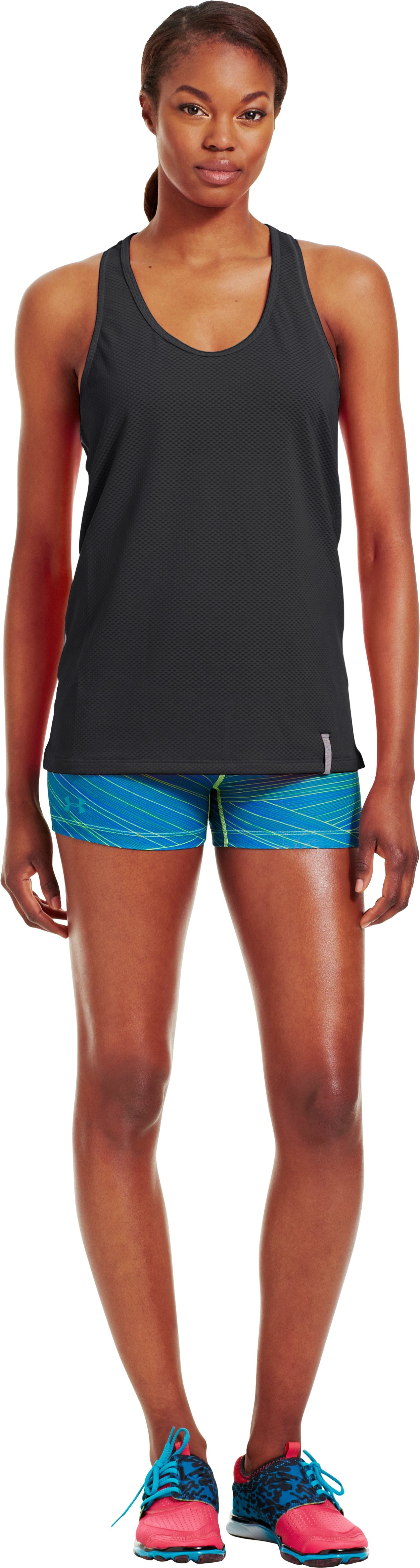 Women's UA Fly-By Stretch Mesh Tank, Black , Front