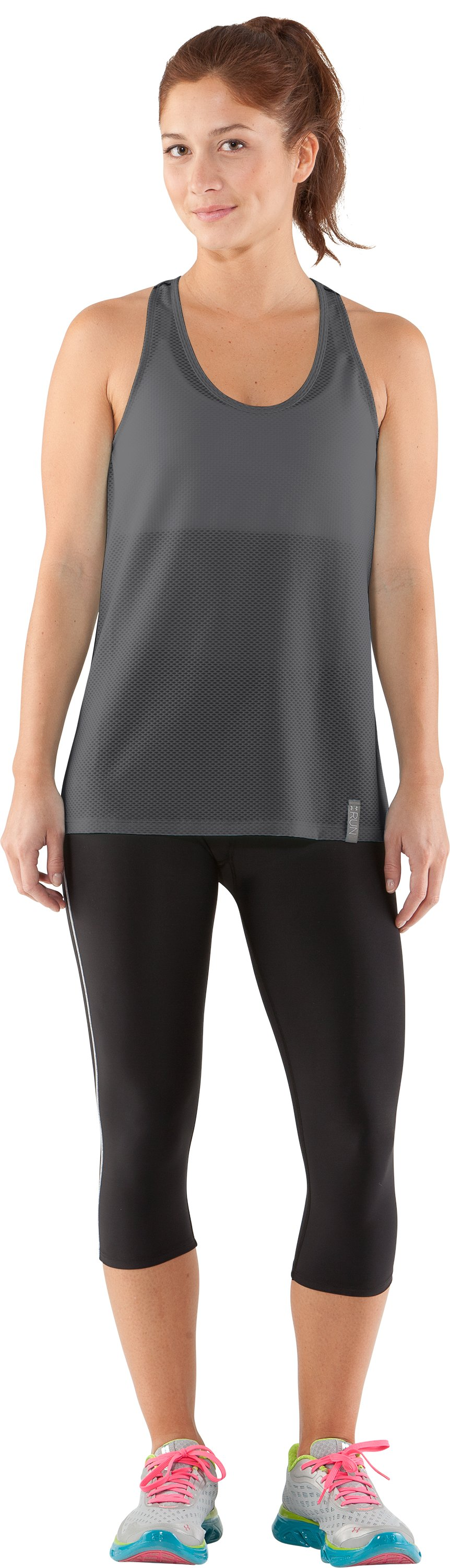 Women's UA Fly-By Stretch Mesh Tank, Graphite, Front