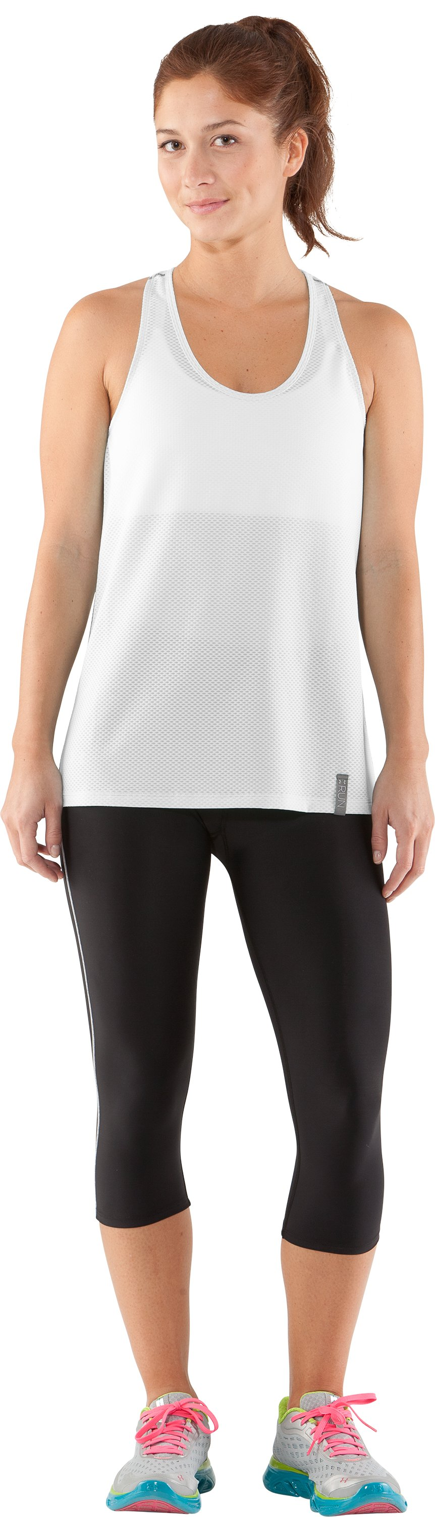 Women's UA Fly-By Stretch Mesh Tank, White, Front