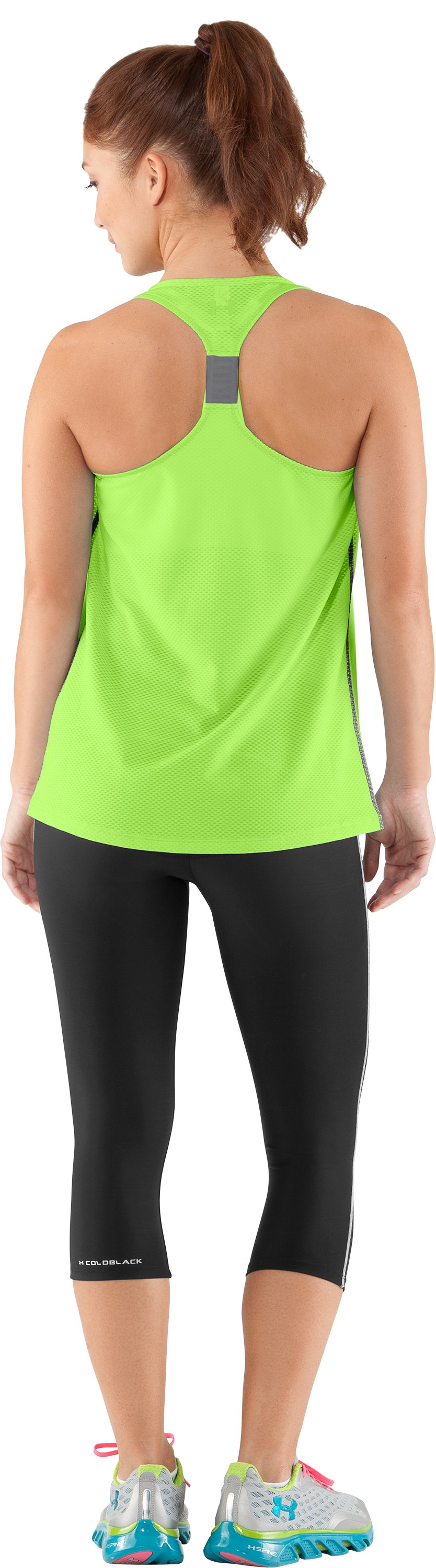 Women's UA Fly-By Stretch Mesh Tank, Poison, Back