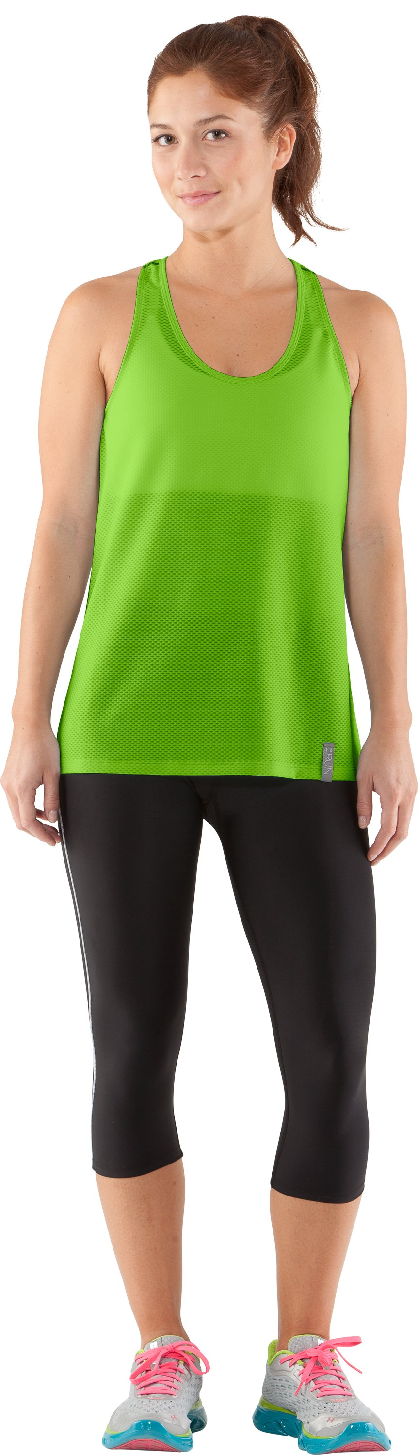 Women's UA Fly-By Stretch Mesh Tank, Poison, Front