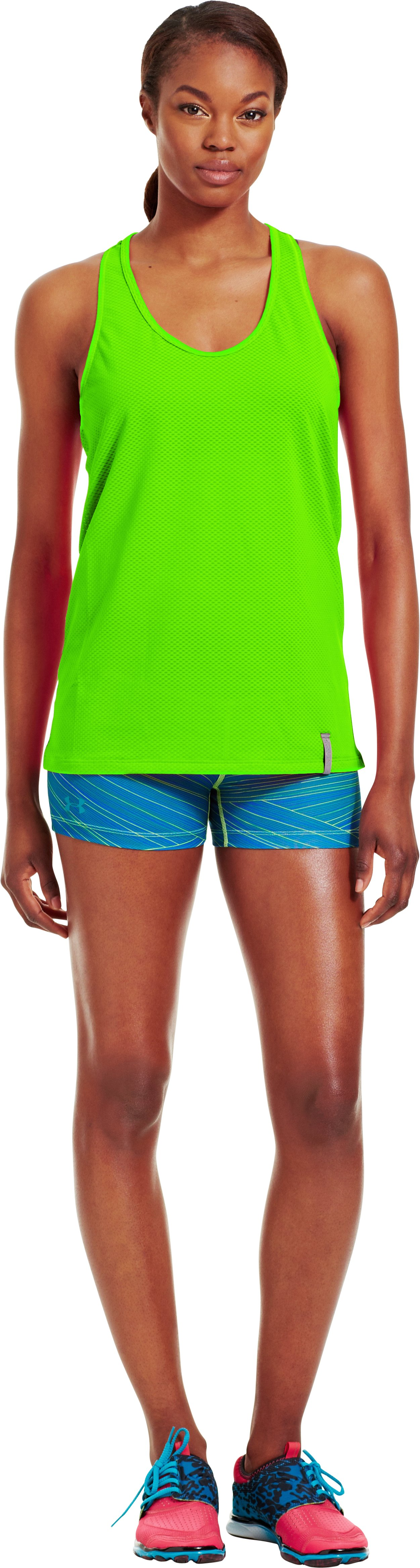 Women's UA Fly-By Stretch Mesh Tank, HYPER GREEN, Front