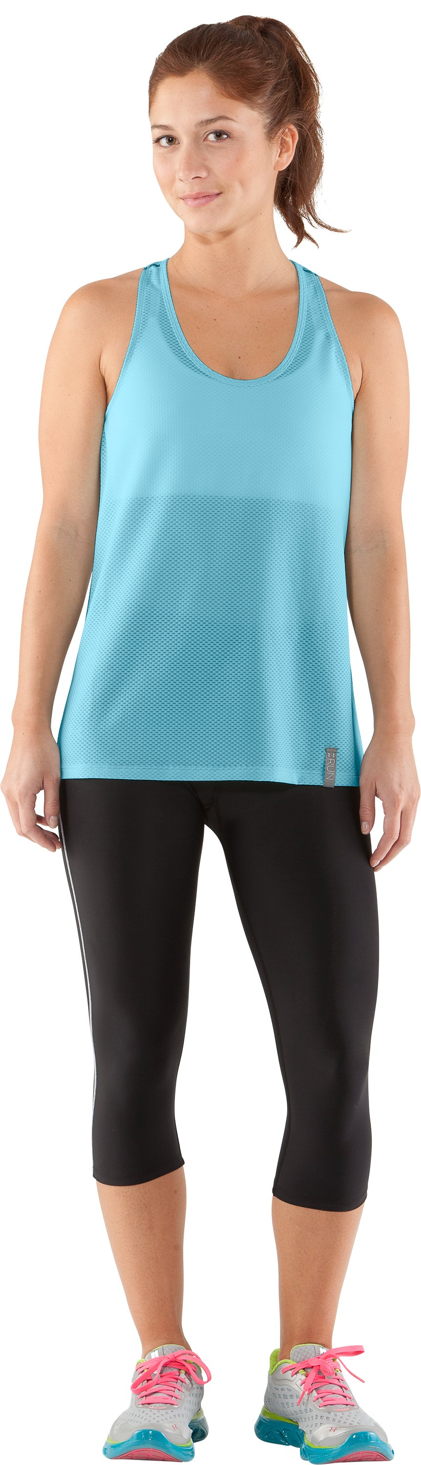 Women's UA Fly-By Stretch Mesh Tank, Veneer, Front