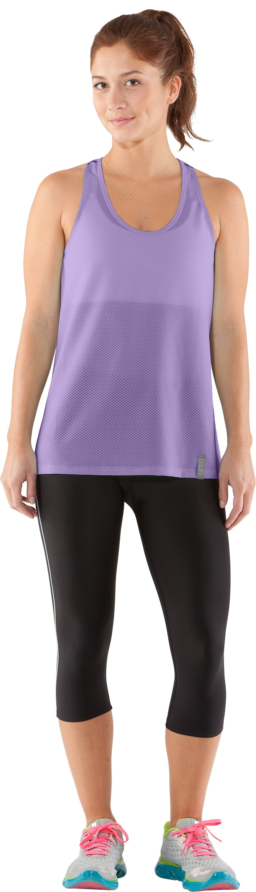 Women's UA Fly-By Stretch Mesh Tank, Petunia, Front