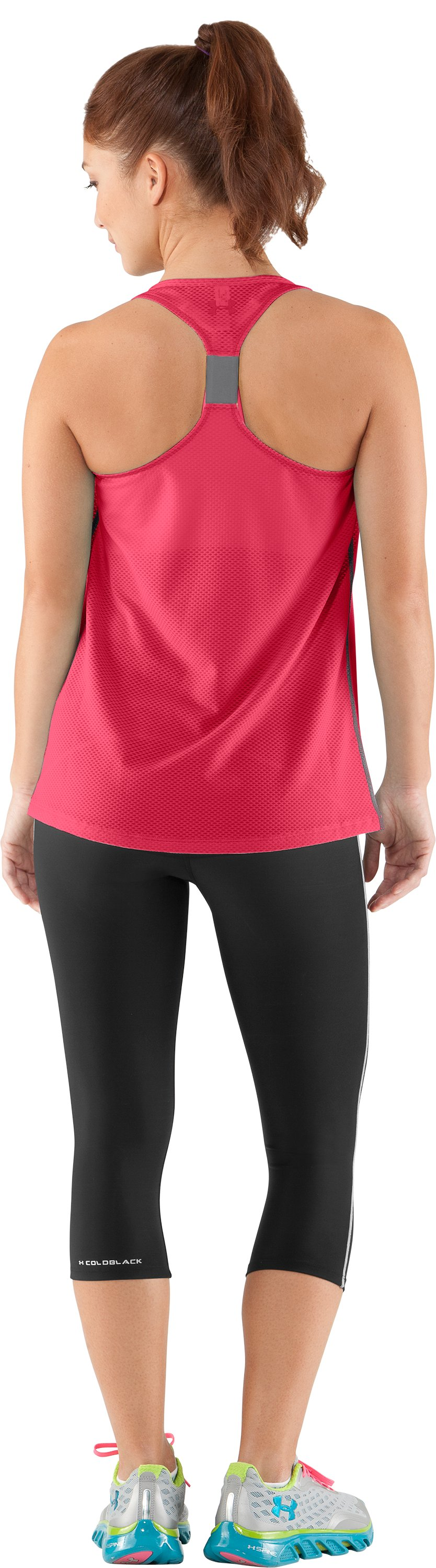 Women's UA Fly-By Stretch Mesh Tank, Hibiscus, Back