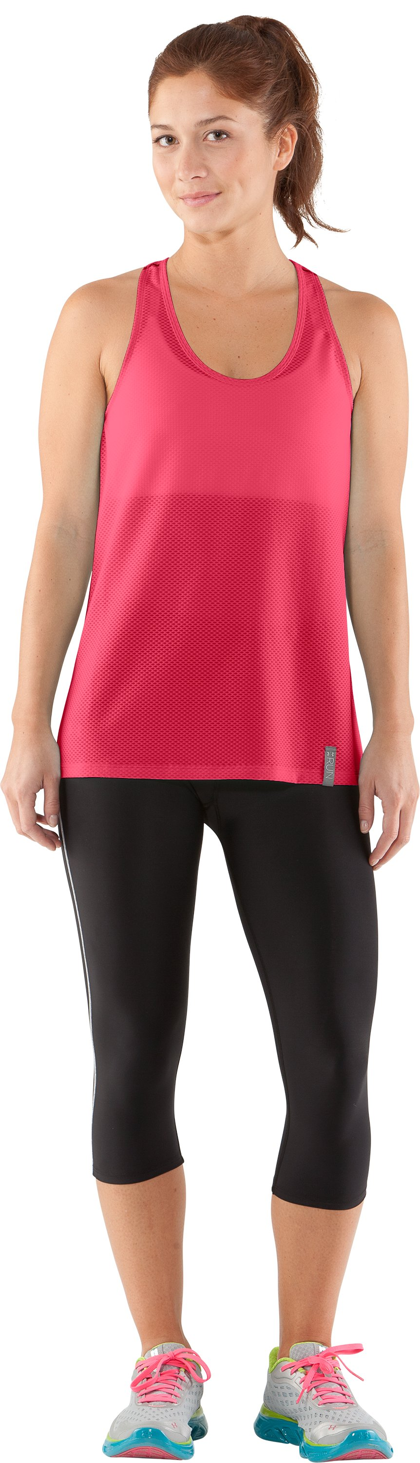 Women's UA Fly-By Stretch Mesh Tank, Hibiscus, Front