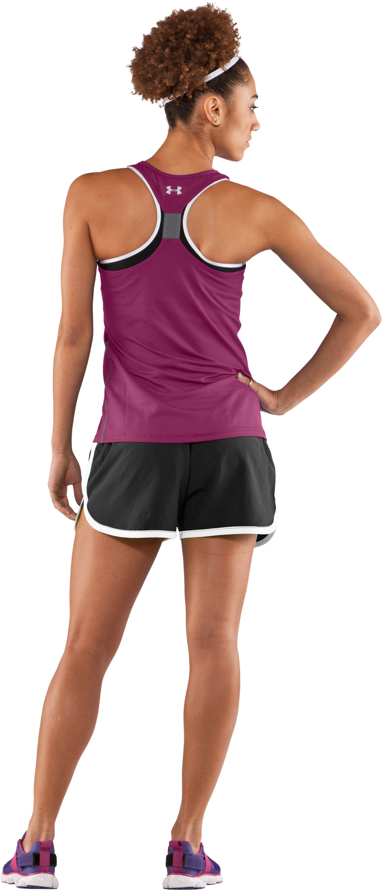 Women's UA Fly-By Stretch Mesh Tank, Rosewood, Back