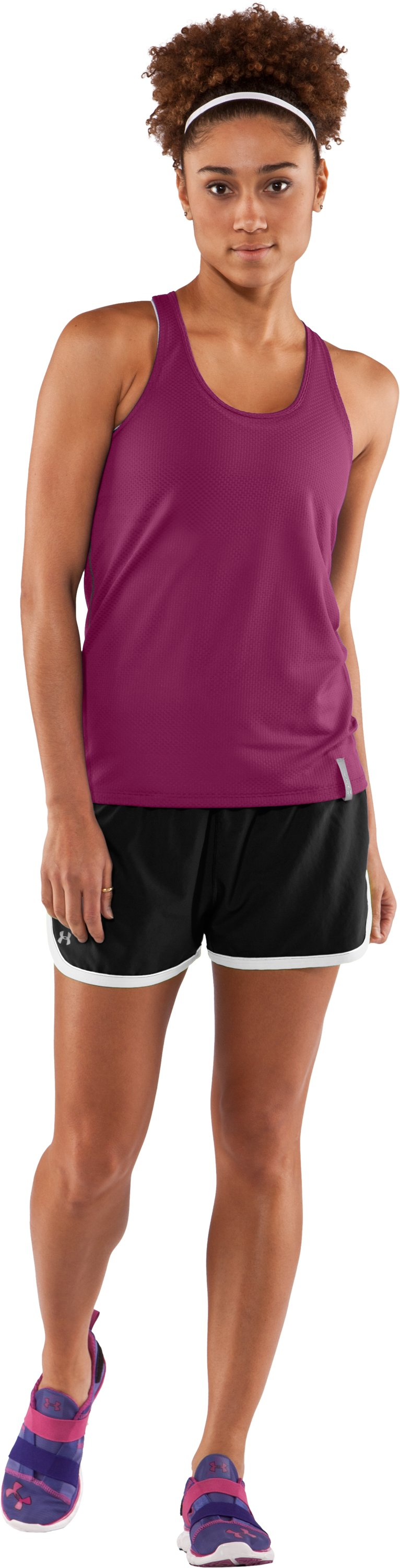 Women's UA Fly-By Stretch Mesh Tank, Rosewood, Front