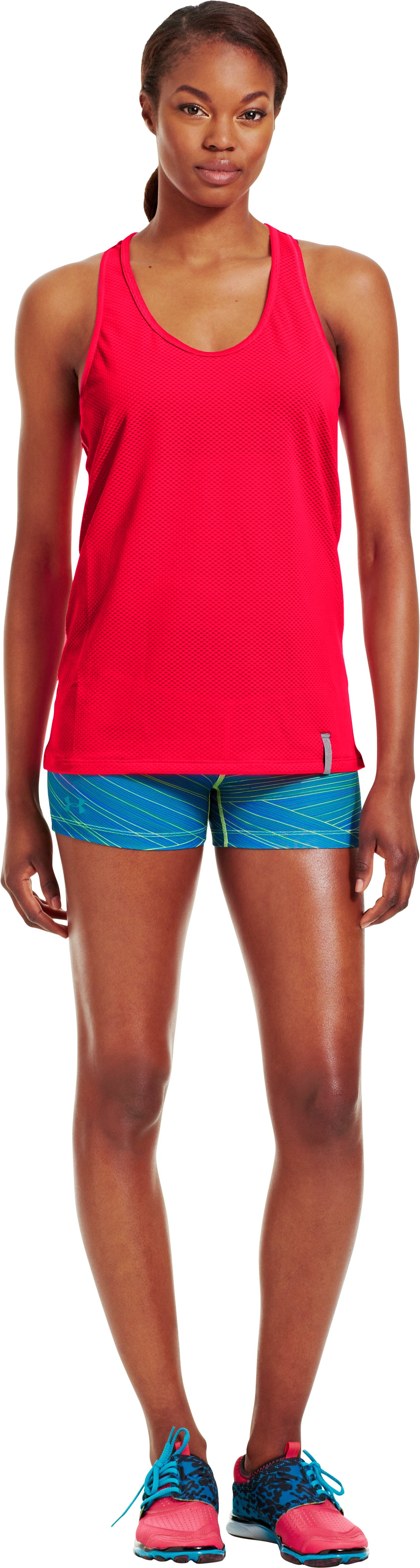 Women's UA Fly-By Stretch Mesh Tank, Neo Pulse, Front