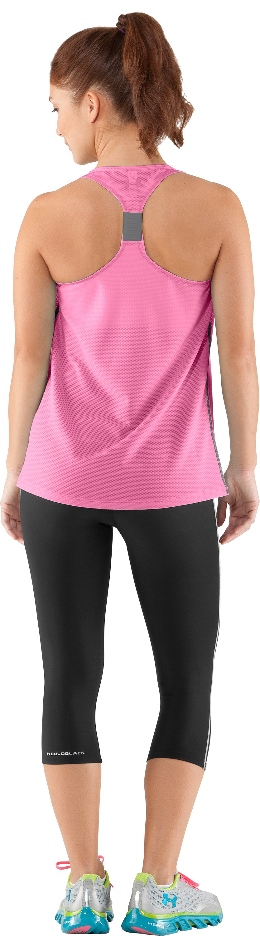 Women's UA Fly-By Stretch Mesh Tank, Fluo Pink, Back