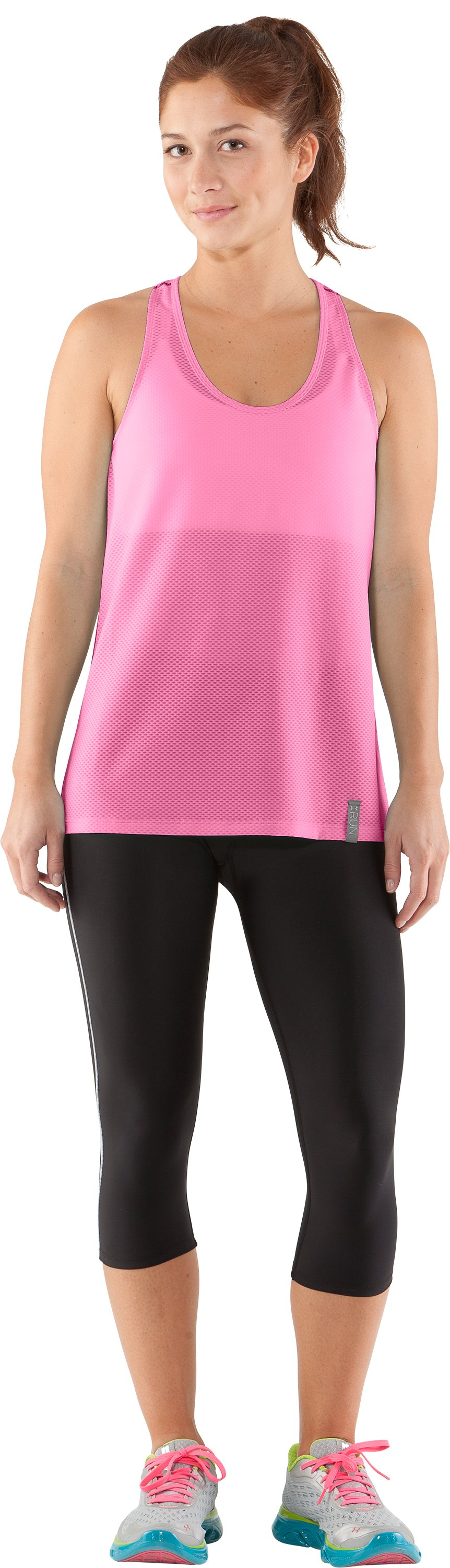 Women's UA Fly-By Stretch Mesh Tank, Fluo Pink, Front