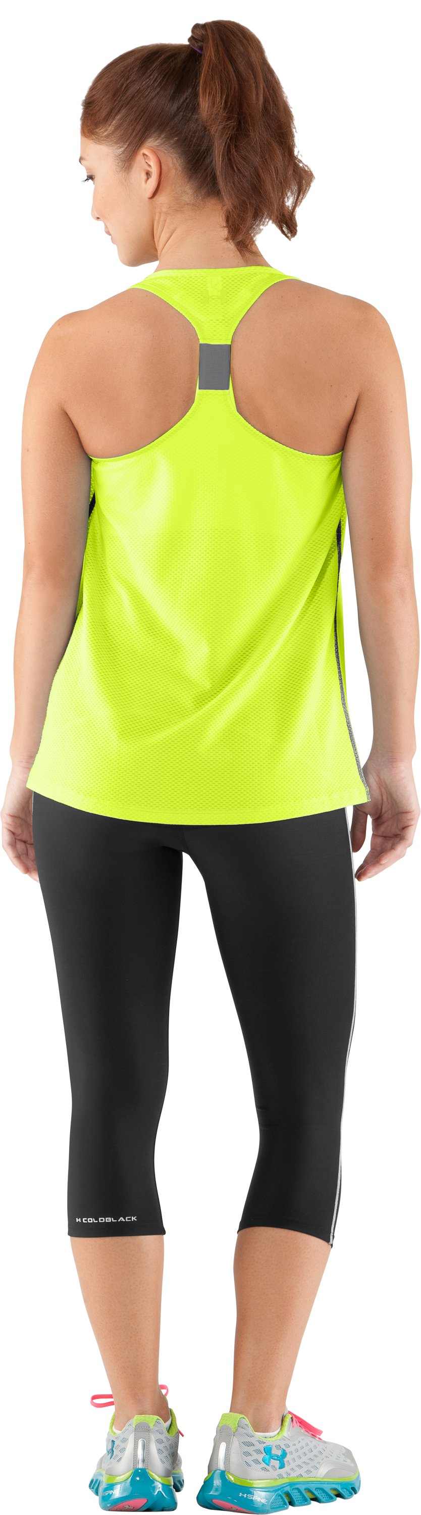 Women's UA Fly-By Stretch Mesh Tank, High-Vis Yellow, Back