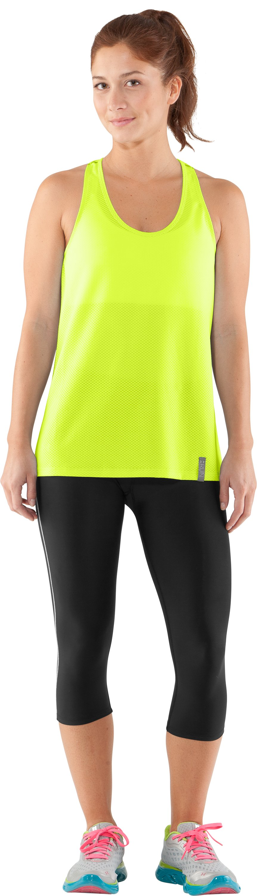 Women's UA Fly-By Stretch Mesh Tank, High-Vis Yellow, Front