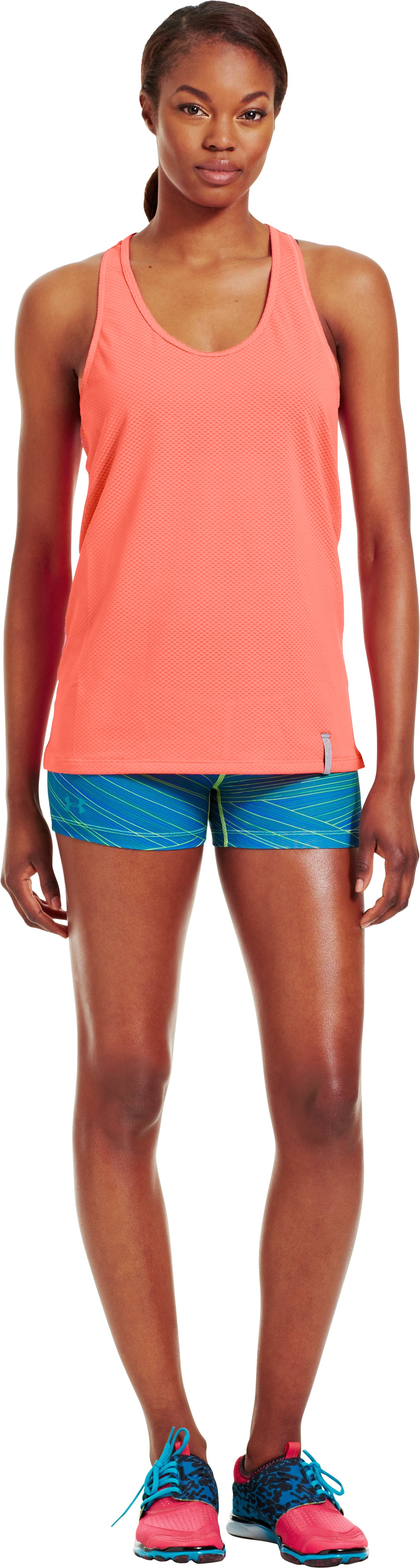 Women's UA Fly-By Stretch Mesh Tank, ELECTRIC TANGERINE, Front