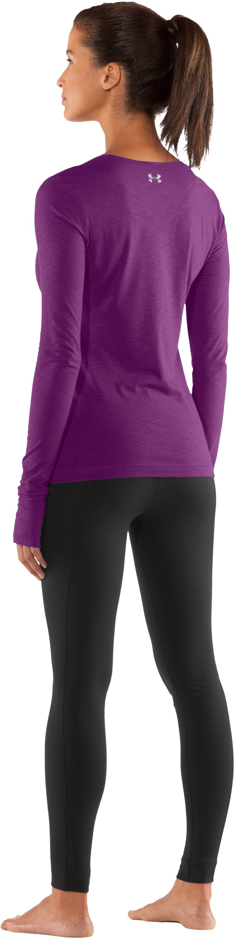 Women's UA Charm Long Sleeve Shirt, Cassis, Back
